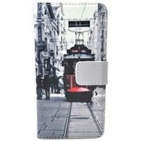 HTC One Mini Kılıf Cüzdan Tramvay Desenli