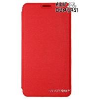 Samsung Galaxy Note 4 Kılıf Vantuzlu Kapaklı Kırmızı