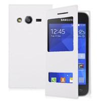 Microsonic Dual View Delux Kapaklı Samsung Galaxy Ace 4 Kılıf Beyaz