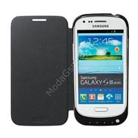 PowerCase Samsung S3 Mini Şarjlı Kapaklı Kılıf Siyah MGSFRSTFGRZ