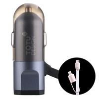 Totu Design BreakNeck USB Araç Çakmaklık Şarj Cihazı & 2li Micro USB ve 8Pin lightning Kablo Grey