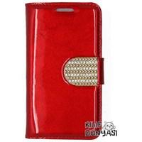 Samsung Galaxy Grand Kılıf Rugan Taşlı Deri Cüzdan Kırmızı