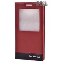 Samsung Galaxy A5 Kılıf Milano Gizli Mıknatıslı Pencereli Kırmızı Koyu