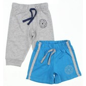 Wonder Kids WK14S480 2 Pack Şort Pantolon Mavi-Gri 6-9 Ay (68-74 Cm) 33442638