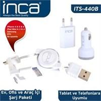 Inca ITS-440B iPad 2/New iPad/iPad 4/iPad Beyaz 3'lü Şarj Seti
