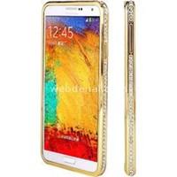 Samsung Galaxy Note 4 Taşlı Metal Bumper Kılıf Sarı