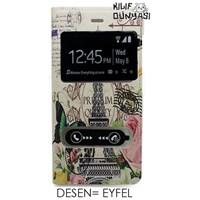 G. Mobile Discovery Kılıf Eyfel Desenli Çift Pencereli Flip Cover