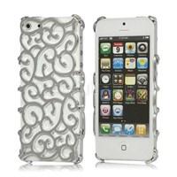 iPhone 5 5S Nouveau Art Sarmaşık Kapak - Kılıf Gümüş