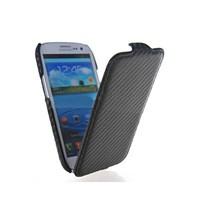 Microsonic Flip Leather Carbon Fiber Kaplama Deri Kılıf Samsung Galaxy I9300 S3