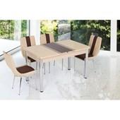 Gül Kelebek Masa Sandalye Takımı 4 Sandalyeli Sanpa Kapuçino Kahve Şeritli 25209370
