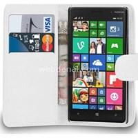 Cüzdanlı Deri Nokia Lumia 830 Kılıf Beyaz