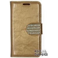 Samsung Galaxy Ace 4 Kılıf Rugan Taşlı Kopçalı Cüzdan Altın