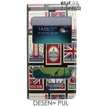 G. Mobile Discovery Kılıf Pul Desenli Çift Pencereli Flip Cover