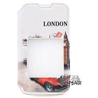 Nokia Lumia 530 Kılıf London Desenli Pencereli Mıknatıslı