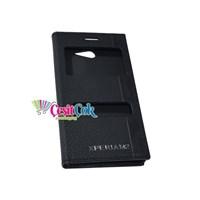 Sony Xperia M2 Kılıf Gizli Mıknatıslı Çift Pencereli Siyah