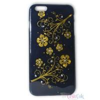 iPhone 6 Plus Taşlı Çiçekli Siyah Arka Kapak