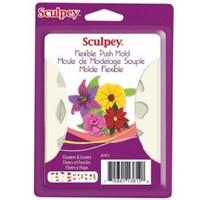 Scupley Sculpey Flexible Push Mold Esnek Model Kalıbı Flowers Leaves THTAPM75