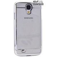 Samsung Galaxy S4 Metal Elegance Şeffaf Sert Kapak Gümüş