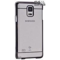 Samsung Galaxy Note 4 Metal Elegance Şeffaf Sert Kapak Siyah