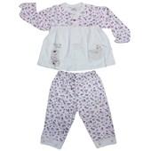 Minidamla 41785 Çiçekli Pijama Takımı Ekru-Pembe 3-6 Ay (62-68 Cm) 33443795