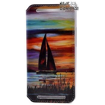 HTC One E8 Kılıf Gemi Desenli Gizli Mıknatıslı