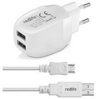 Redlife AGDS01079 3.4A Çift USB Çıkışlı Micro USB Duvar Şarjı Beyaz