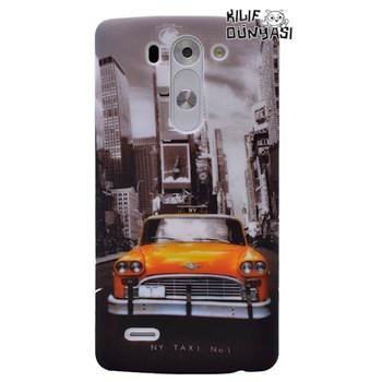 LG G3 Beat Kılıf Taxi Desenli Rubber Sert Kapak