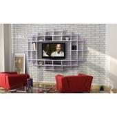 Sanal Mobilya Yeni Nesil Elips Tv Ünitesi & Kitaplık-Parlak Beyaz/Lila 32067113