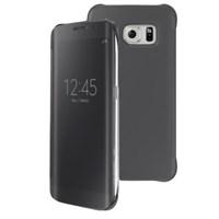 Microsonic View Clear Samsung Galaxy S6 Edge Kapaklı Kılıf Siyah