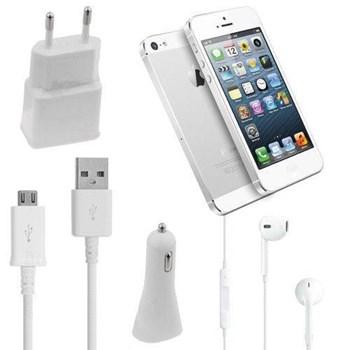 iPhone 5 Yeni Nesil Kulaklıklı Seyahat Şarj Seti