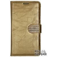 iPhone 6 Kılıf Rugan Taşlı Kopçalı Cüzdan Altın