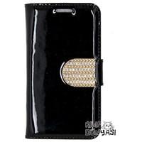 Samsung Galaxy Win Kılıf Rugan Taşlı Deri Cüzdan Siyah