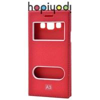 Samsung Galaxy A3 Kılıf Dolce Çift Pencereli Kırmızı