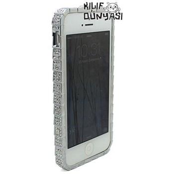 İphone 5 Kılıf Taşlı Metal Bumper Çerçeve Gümüş