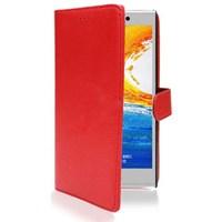 Microsonic Cüzdanlı Deri Kılıf - General Mobile Discovery Elite Kırmızı