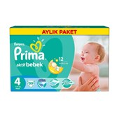 Prima Bebek Bezi Aktif Bebek Maxi Aylık Paket No:4 (7-14kg) 99'lu