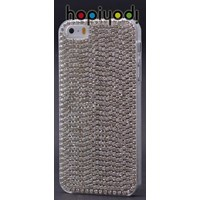 Apple iPhone 5 Kılıf Taşlı Arka Kapak Gümüş