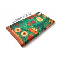 Sony Xperia Z1 Kılıf Green Paris Desenli Kapak