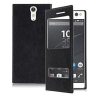 Microsonic Sony Xperia C5 Ultra Kılıf Dual View Delux Kapaklı Siyah