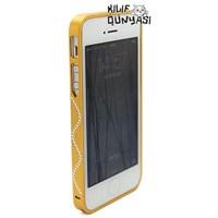İphone 5 Kılıf Seramik Taşlı Metal Bumper Çerçeve Altın