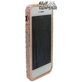 İphone 5 Kılıf Taşlı Metal Bumper Çerçeve Bakır