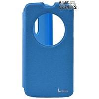 LG L Bello Kılıf Vantuzlu Pencereli Standlı Mavi