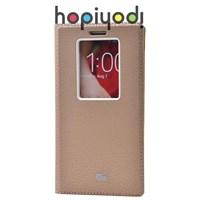 LG G2 Kılıf Dolce Pencereli Gizli Mıknatıslı Altın