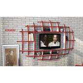 Sanal Mobilya Yeni Nesil Elips Tv Ünitesi & Kitaplık-Parlak Beyaz/Kırmızı 32066880