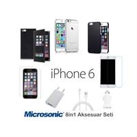 Microsonic iPhone 6 (4.7'') Aksesuar Seti 8in1 ( Kılıflar, Kırılmaz Cam, Şeffaf Film, kablo, Şarj )