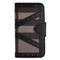 Color Case iPhone 5s Cüzdanlı Ekose Kılıf Siyah MGSNRVXZ458