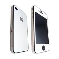 iPHONE 4 ÖN-ARKA-YAN KARBON FİBER KORUYUCU BEYAZ