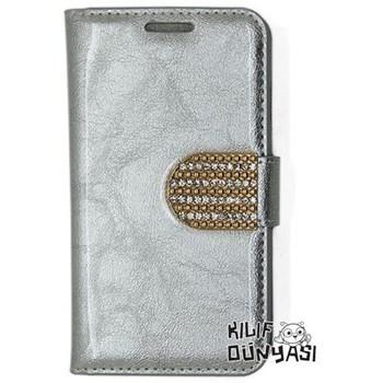 Samsung Galaxy S3 Kılıf Rugan Taşlı Deri Cüzdan Gümüş