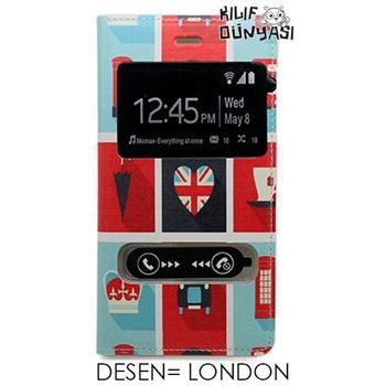 G. Mobile Discovery Kılıf London Desenli Çift Pencereli Flip Cover