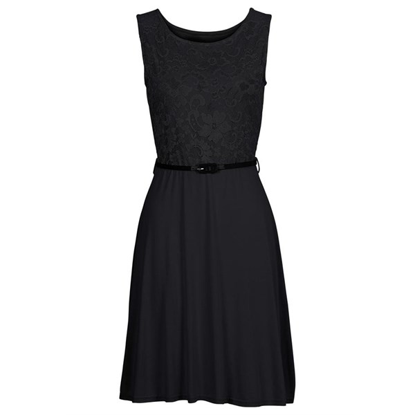 BODYFLIRT Dantelli penye elbise - Siyah 20084072